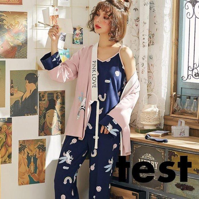 浴袍 菲相依睡衣女春秋冬季長袖卡通可愛睡袍三件組日式和服家居服套裝