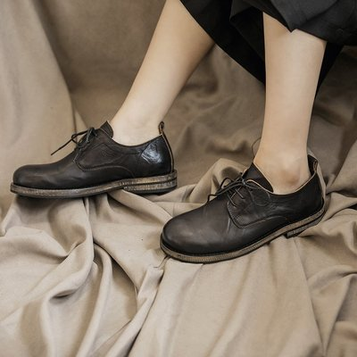 Dark.Q BLACK 暗黑風頭層牛皮綁帶圓頭包鞋真皮休閒鞋
