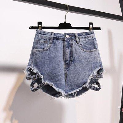 破洞牛仔短褲女夏不規則大碼毛邊高腰寬松學生闊腿熱褲潮