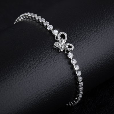 韓版新款首飾女士鍍白金手飾鑲鑽鋯石蝴蝶節手鍊N962