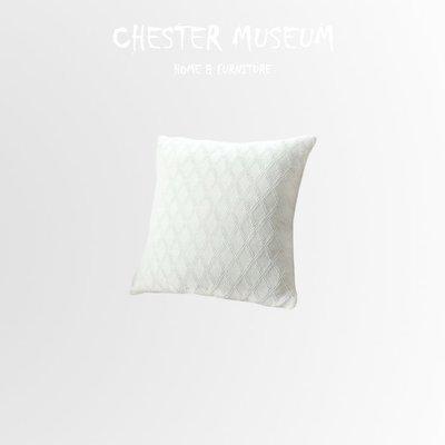 白色純棉針織菱紋抱枕 抱枕 靠墊 座墊...