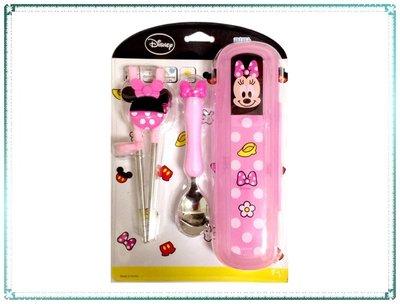 【Q寶寶】韓國 lilfant 迪士尼不鏽鋼學習筷+湯匙附餐具盒-粉米妮 右手 三件組_現貨