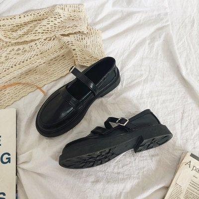 娃娃鞋牛津鞋休閒鞋 日系復古圓頭黑色平底小皮鞋女2020夏季薄款英倫風學生jk制服單鞋