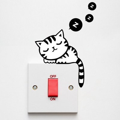 Loxin 創意可移動壁貼 睡覺的貓【SF0962】開關貼/壁紙/牆貼/背景貼