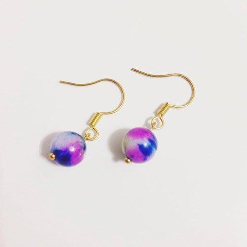 迷幻 ::紫 藍 橘 / 三色可選 / 一對 / 天然石耳環 / 禮物客製設計