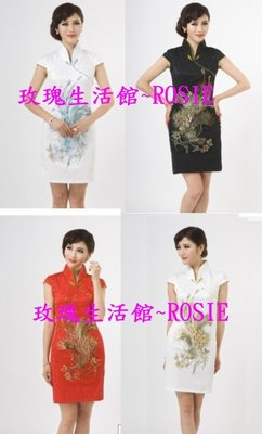 【玫瑰生活館】~V領改良式旗袍 ,黑,紅,粉,白藍,白金 S~XXL
