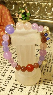 粉晶紫水晶設計款手鍊 獨一無二 925銀(頭等艙精品)