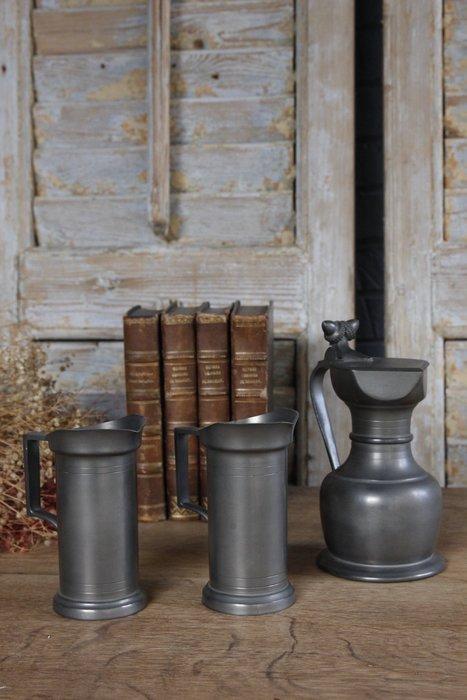 義大利老錫壺/古董錫壺 印記 歐洲古董老件(00_AA-442)【小學樘_歐洲老家具】
