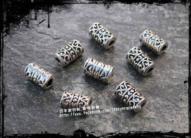 飾品 配件 H1501 圖騰大孔連接長管 4入/組 連接 DIY 手創 handmade 手鍊 項鍊 蠟線 編織