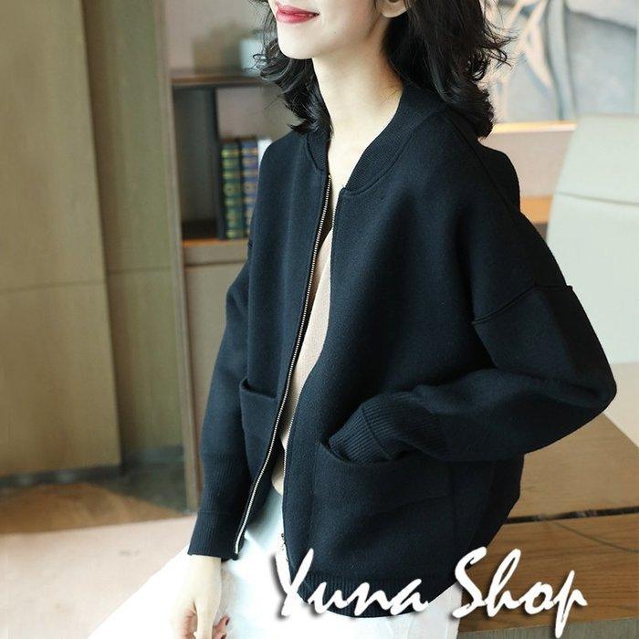 ☆YUNA SHOP☆自留推薦款~秋季新款高質感慵懶風黑色針織外套夾克 兩件免運