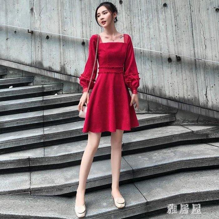 小禮服 紅色連身裙長袖秋裝新款燈芯絨高腰名媛氣質小禮服a字小紅裙 LN4637