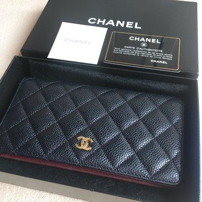 國際精品 Chanel真品Chanel Caviar Quilted Yen Wallet Black 長夾 酒紅內裡