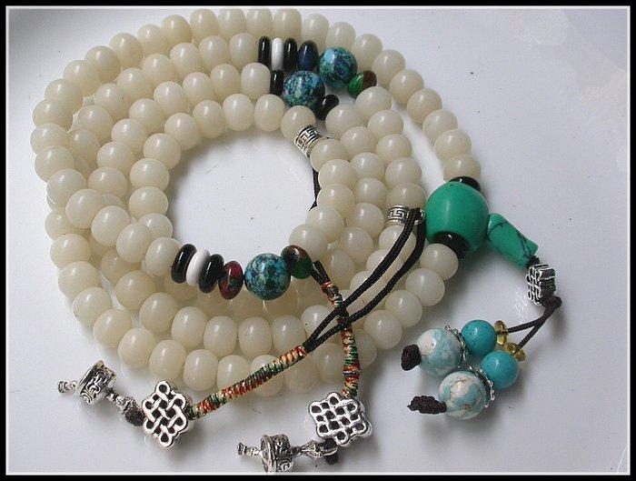 【雅之賞|藏傳|佛教文物】*特賣* 藏式 純手工製作打磨 天然白菩提根 ( 9mm) 108顆 佛珠~Q1438