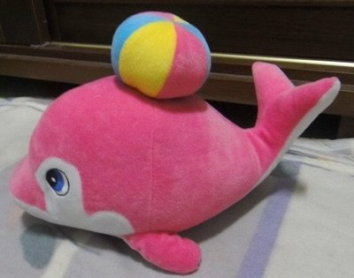 全新頂球海豚-粉紅色 娃娃公仔長約26公分