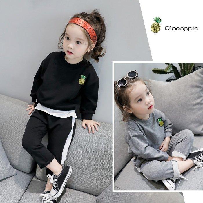 童裝春裝新款女童兒童寶寶韓版時尚拼接衛衣+休閑褲兩件套裝