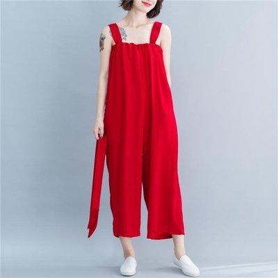 新款吊帶連體褲女 大尺碼民族風洋裝 寬...