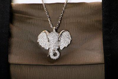 (買上癮~MyShining)高雅風格大象造型水鑽垂墜項鍊 時尚/優雅/飾品/晶鑽/鋯石/平價/高CP值/配件/穿搭