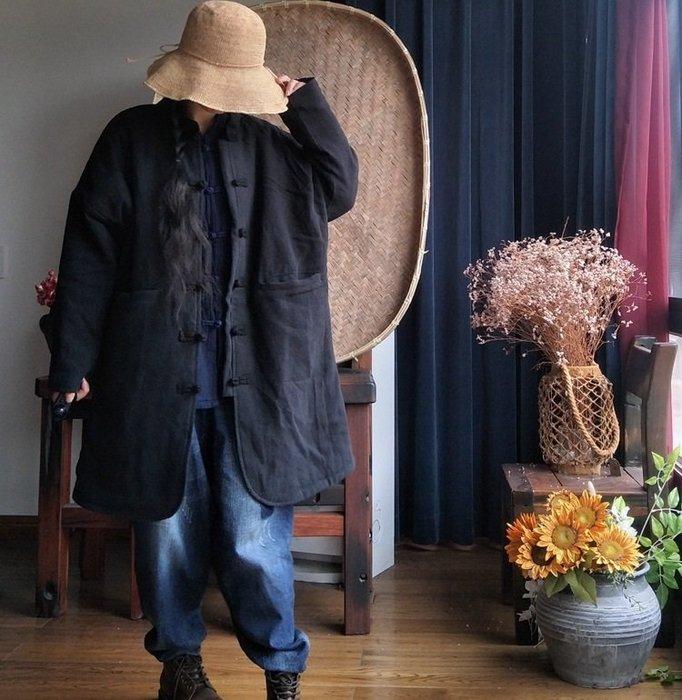 【子芸芳】原創寬鬆文藝對襟盤扣中長薄鋪棉大衣外套