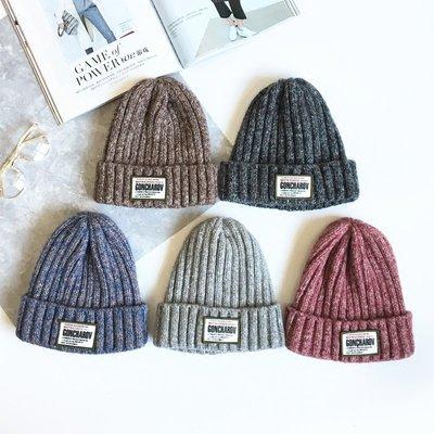 針織帽毛線帽毛帽秋冬韓版秋冬季情侶混色貼布毛線帽子韓版男女針織帽加厚保暖護耳套頭帽潮