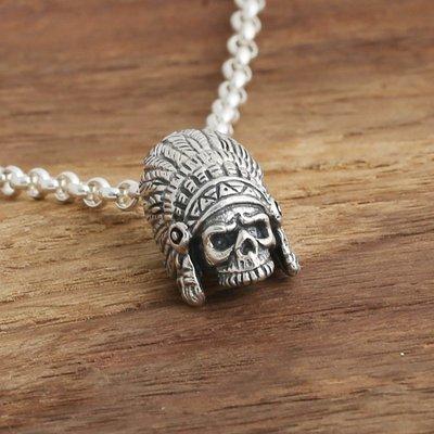 【H&M】03  S925純銀飾品復古泰銀男女款日韓時尚骷髏頭印第安人吊墜掛件