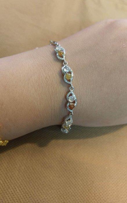 天然緬甸翡翠手鍊~ 白冰、黃翡、紅翡(925銀鑲嵌材質)