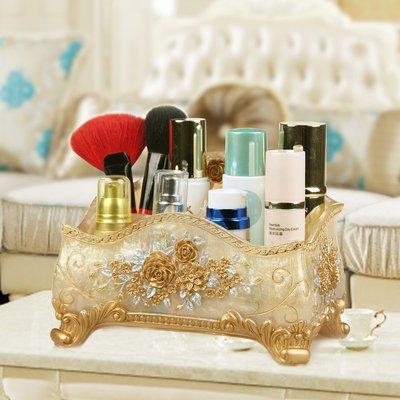 歐宴創意化妝品收納盒梳妝臺桌面整理非抽屜式樹脂收納箱儲物盒小#收納盒#居家#方便#創意