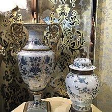 【芮洛蔓  La Romance】 美國 Castilian 純銅陶瓷手繪貴族孔雀把手花器 / 花瓶 / 擺飾