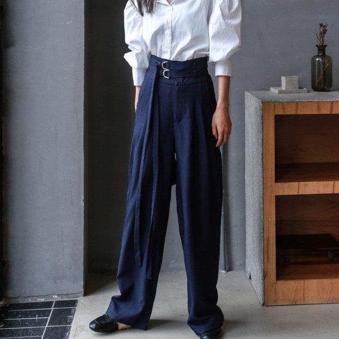 獨家設計 R9222寬鬆藏青色繫帶休閒褲闊腿褲/大碼休閒寬鬆時尚顯瘦修身設計款防曬禪風連身裙民族風復古單正品日韓款外套