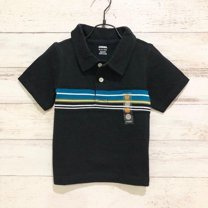 Maple麋鹿小舖 美國購買童裝品牌 GYMBOREE 男童黑色條紋POLO短衫 * ( 現貨18-24 mos )
