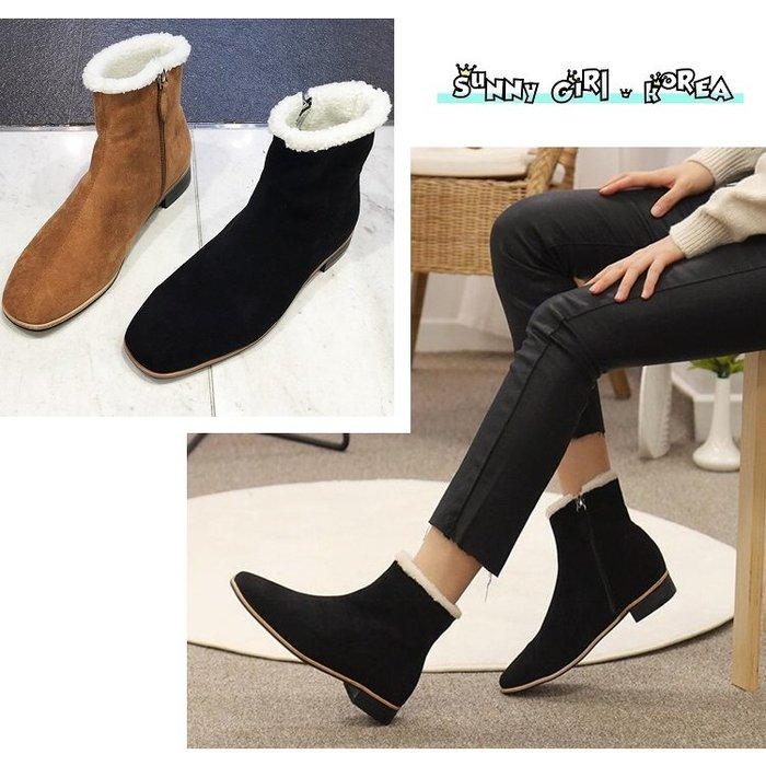 正韓短靴*Sunny Girl*韓國代購絨面加絨保暖粗跟側拉鏈馬丁靴 2019十二月新款 - [WH1438]