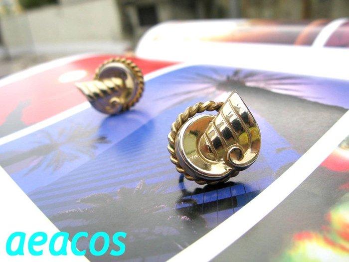 AEACOS@古董 古著 vintage retro MODs 標記Coro 前衛 藝術圖案麻花捲圓形羊角?淡金夾式耳環