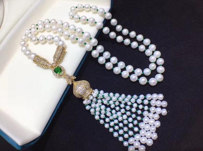 豪華祖母綠色鋯石珍珠流蘇毛衣鍊,完美流蘇亮點時尚大氣百搭款!純天然淡水白珍珠4-9mm左右,近圓微瑕