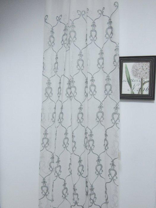 [W077]窗簾 窗紗  No.141灰刺繡白紗  特價出清  無接縫紗 復古 典雅