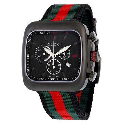 GUCCI YA131202 古馳 手錶 G-Coupe 44mm 尼龍錶帶 黑面盤 運動 男錶女錶