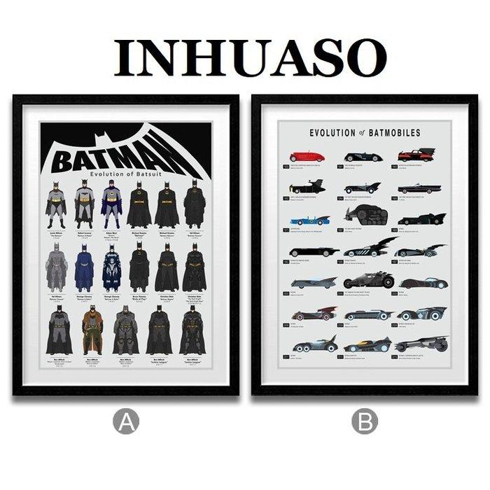 INHUASO 癮|畫|所 BATMAN蝙蝠俠戰甲戰車裝備科技大集合進化史海報禮物掛畫DC英雄人物正義聯盟裝飾畫