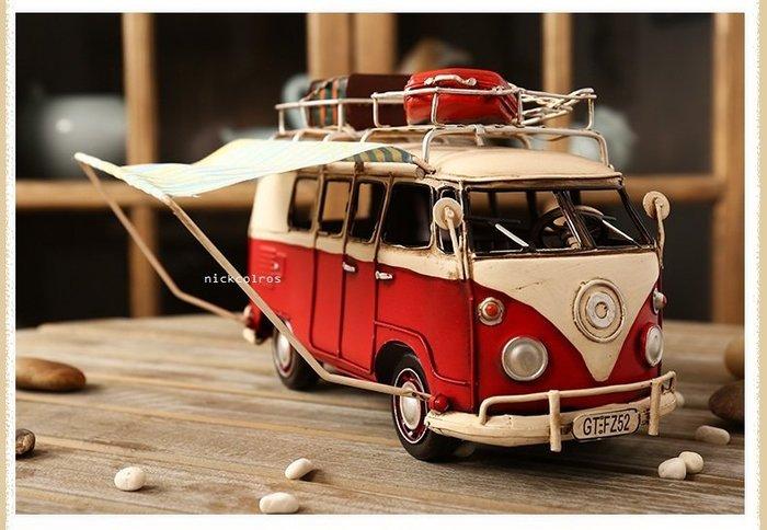 尼克卡樂斯~復古麵包露營車模型 模型車 工業風模型 復古擺件裝飾 展示收藏模型車