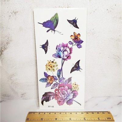 【萌古屋】炫彩蝴蝶花朵 - 男女防水紋身貼紙刺青貼紙FF-018 K19