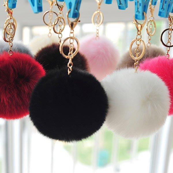 *UOU精品*(直徑10CM)超可愛糖果色毛絨掛飾毛毛球汽車鑰匙圈鏈扣創意禮物包包掛件吊飾/23色/G044