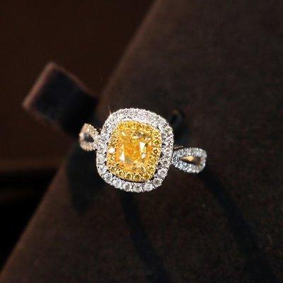 (陳淑芬手作)主石過1克拉的天然黃彩鑽,FANCY YELLOW 、VS, 18K金真鑽戒。配鑽50分,附AGL大證。