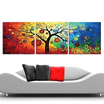 創意加~數字油畫DiY~三拼~批發.零售~發財樹~一套3幅.原價990元~特價660元