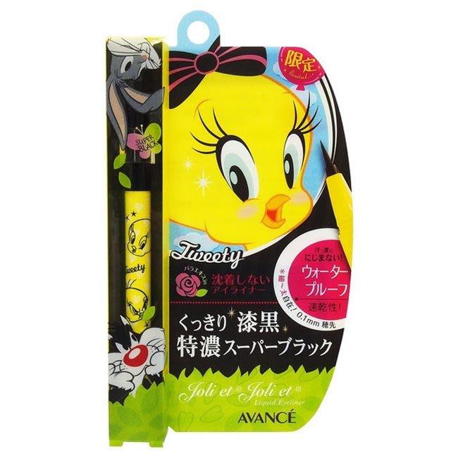 眼線液 AVANCE長效不暈染防水速乾眼線液 濃黑 (Tweety)  黃色 筆頭 0.1mm 正版授權 日本製造進口