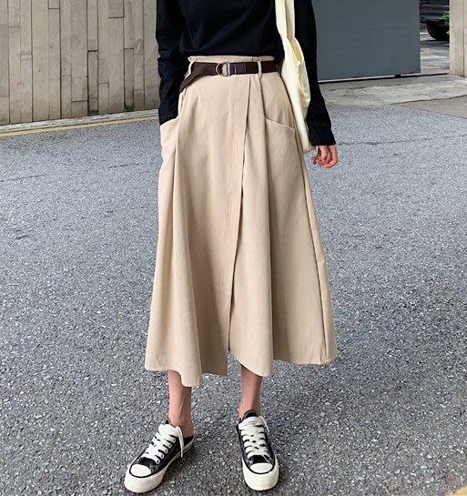 SeyeS   NYLON古著時尚英倫不規則A字一片設計感腰帶半身裙