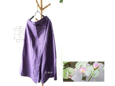 【荷湘田】夏秋裝--復古風花朵木扣雙口袋純色素面寬版低褲檔長褲