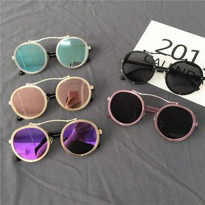 韓國新款原宿復古圓框太陽鏡細邊顯瘦眼鏡女圓臉網紅同款墨鏡男潮