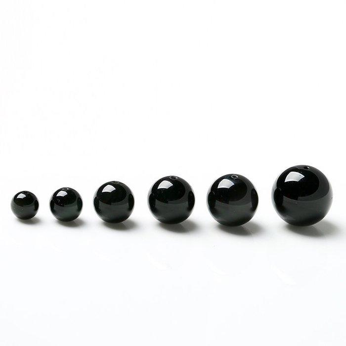 【福寶堂】批發DIY手工水晶飾品 4-18mm天然黑曜石散珠子串珠手鏈配件材料(一組50顆)