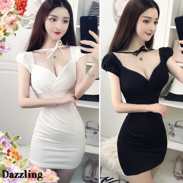 ✿Dazzling✿ 8E15-48 韓版超性感大深V領 低胸爆乳公主袖 短袖小洋裝 (2色) 特↘199夜店派對小禮服