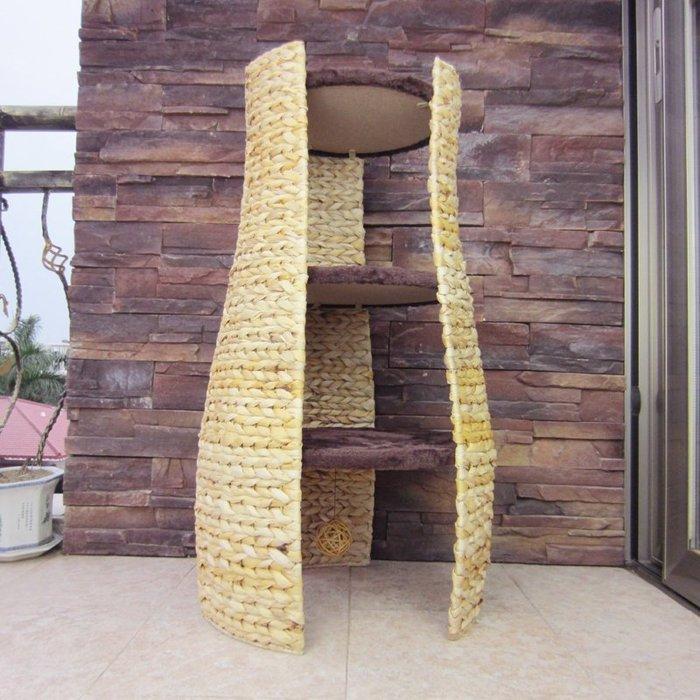 強力推薦天然香蕉葉創意組合喇叭形貓爬架 天然香蕉葉手工編織,經典創意
