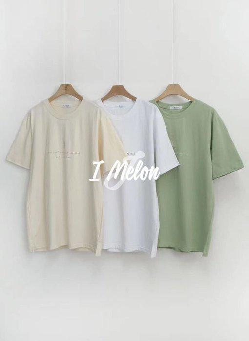 ::: i-MelOn :::100%韓國空運 正韓【現貨】文青簡約葉子英文草寫短袖T恤上衣※綠