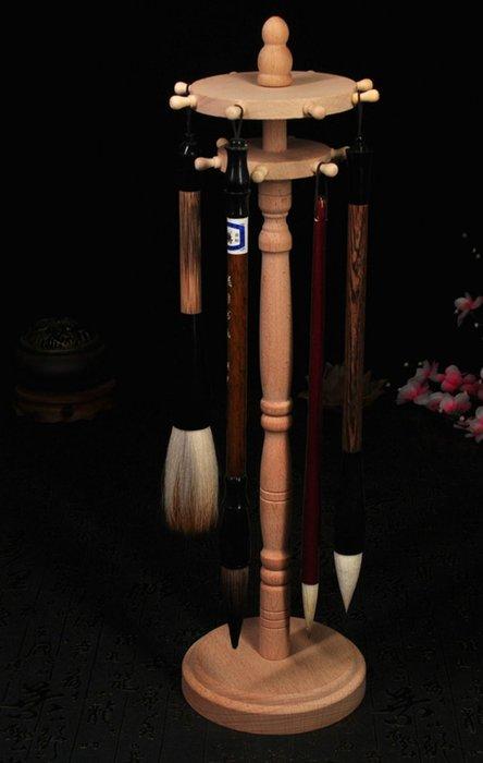 宇陞精品-文房四寶書法用品實木雙層可旋轉圓盤筆架筆擱14掛毛筆筆架毛筆掛-缺貨中