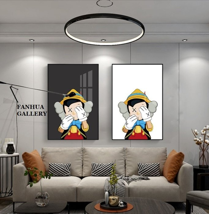 C - R - A - Z - Y - T - O - W - N Kaws匹諾曹木偶人米奇掛畫住宅空間設計藝術裝飾畫